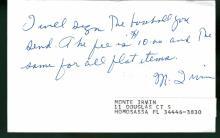 Monte Irvin Signed TTM Postcard