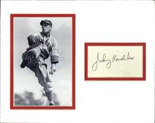 Johnny Vander Meer Cut Signature Matted with a Photograph Certified by JSA James Spence