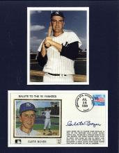 Clete Boyer Signed First Day Cover Matted with a Photograph Certified by JSA