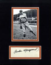 Rube Marquard Cut Signature Matted with a Photograph Certified by JSA James Spence Authentication