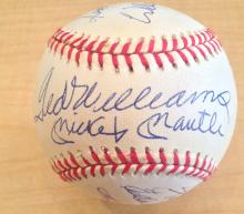 500 Home Run Club Signed Baseball Cert by The Score Board Mantle, Williams, Mays, Aaron, Robinson