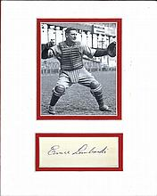 Ernie Lombardi Cut Signature Matted with a Photograph Certified by JSA James Spence Authentication