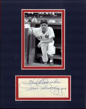 Dom DiMaggio Cut Signature Matted with a Photograph Certified by JSA James Spence Authentication