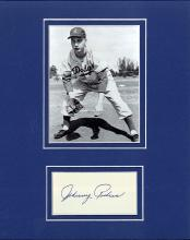 Johnny Podres Cut Signature Matted with a Photograph Certified by JSA James Spence Authentication