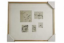 Edith Kramer, signed 1943, Set of Illustrations (2 framed archival pieces) 5 Illustrations