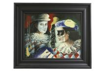 Two Jesters Oil Painting Signed by unknown artist