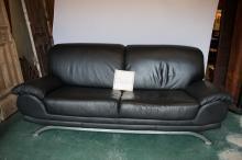 Leather & Chrome Modern Sofa
