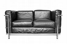 LeCorbusier for Alivar Black Leather 2 Cushion Sofa