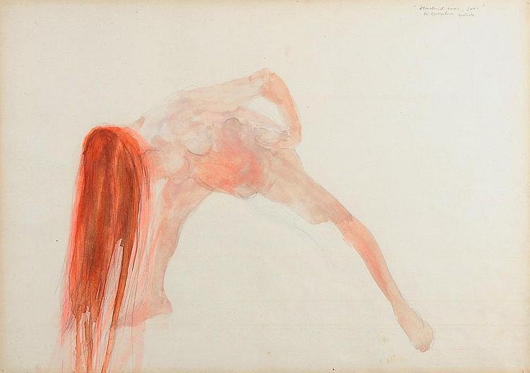 BERLINDE DE BRUYCKERE (NÉ EN 1964) Vloeidend haar, 2000 Aquarelle et mine de plomb sur papier. Signée, datée et titrée en haut à d...