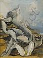 OSSIP ZADKINE (1890-1967) Le repos, 1942 Gouache sur papier Signée et datée en bas à droite H_70 cm L_52 cm (à vue)