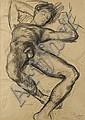 DUNCAN GRANT (1885-1978) Paul reclining, 1953 Fusain sur papier Monogrammé et datée 25 mars 1953 en bas à droite H_59 cm L_42 cm...
