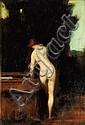 JEAN-JACQUES HENNER (BERNWILLER 1829-PARIS 1905) Femme à sa toilette de dos Panneau (Félix Gérard Fils). Signé en bas à droite JHE...