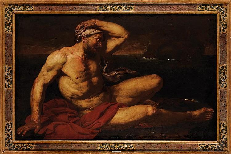 GIOVANNI BATTISTA LANGETTI (1635-1676) Jonas Toile. Au dos, une étiquette indiquant une provenance. H_103 cm L_162 cm Tableau repr...