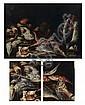 GIUSEPPE RECCO (NAPLES 1634-ALICANTE 1695) Repas de pêche aux rougets, calamars, seiches, sol, merlan et saumon Toile (manques). H...