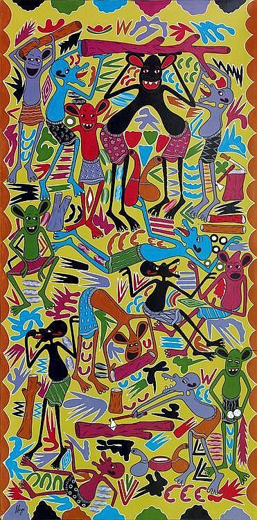 GEORGE LILANGA (1934-2005) Hidala Ya Wakata Miti IV12A, 2004 Huile sur panneau. Signée et titrée au dos. H_244,5 cm L_122,5 cm...
