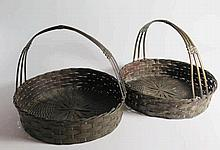 A Pair of Japanese? Woven Copper Baskets with hand