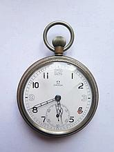 An Omega Keyless Military Pocket Watch with enamel