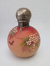 A Victorian Silver Topped Enamelled Glass Scent Bo