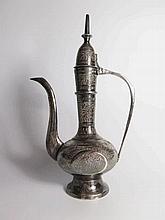 An Engraved Persian White Metal Coffee Pot, 24.5cm