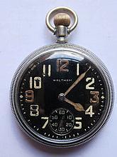 A WWII Waltham Military Keyless Pocket Watch, runn
