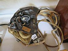 A WWII Type-C Lether Flying Helmet with goggles an