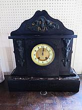 A Large Slate Egyptian Revival Mantle Clock