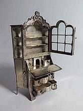 A Miniature Dutch Silver Bureau Bookcase .833, 15.