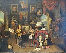 The School of Art, oil on canvas, 18th Century Dut