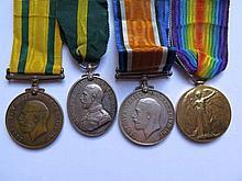 A WWI Four Medal Group 451 PTE. B.T. WEST. DEVON.R