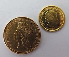 USA Gold $1 (A/F) and 2009 Gold Half Crown
