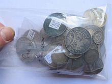 Bag of post 1920 .50 silver coins