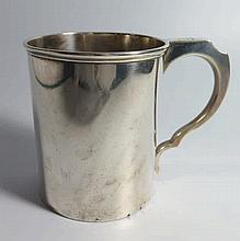 A Victorian Silver Beer Mug with glass base and th