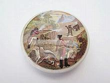 A Small Pratt Pot Lid depictine bear hunting