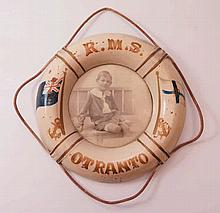 A R.M.S. Otranto 'Life Ring' Plaque with portrait