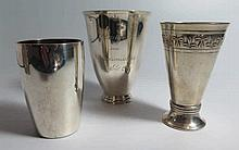 Three Continental Silver Beakers, 210g