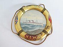 A U.C.M.S. Saxon 'Life Ring' Ship's Portrait Plaqu