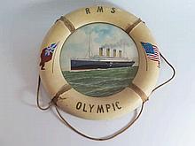 A R.M.S. Olympic 'Life Ring' Ship's Portrait Plaqu