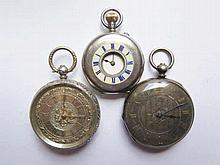 Three Silver Cased Pocket Watches