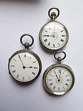 Three Silver Cased Ladies Pocket Watches