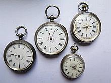 Four Silver Cased Ladies Pocket Watches, two keyle