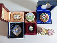 A Collection of Seven Enamel Boxes including Royal