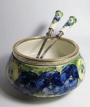 A Moorcroft MacIntyre Pansy Salad Bowl with matchi