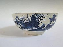 A Worcester First Period Blue and White Bowl, 21 cm diam.
