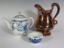 A Worcester First Period Blue and White Tea Pot, Tea Bowl and lustre jug. Lid of pit A/F