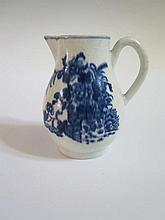 A Worcester First Period Blue and White Sparrow Beak Jug, 10.5 cm