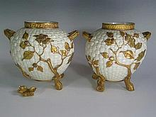 A Pair of Royal Worcester Vases, 20cm, one foot off
