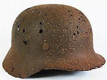 WWII German Helmet, ground dug and Iron Cross