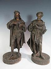 A Pair of Spelter Figures _ A. Durer and Goltzius, 43 cm