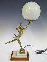 An Art Deco Spelter Figural Table Lamp, 53 cm to top of shade