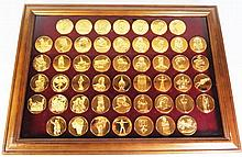 FRANKLIN MINT 'THE WORLD'S GREATEST SCULPTURES MEDAL COLLECTION' COMPLETE SET OF FIFTY IN OFFICIAL PRESENTATION CASE _ CERTIFICATES IN OFFICE